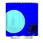 Blue Moon And Tree Shower Curtain