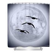 Blue Moon Geese Shower Curtain