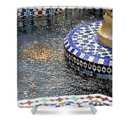 Blue Mosaic Fountain I Shower Curtain