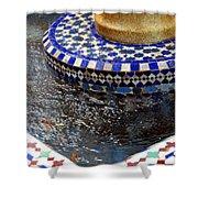 Blue Mosaic Fountain II Shower Curtain
