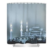 Blue Mosque In Blue Mist Shower Curtain