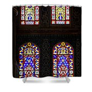 Blue Mosque Stained Glass Windows Shower Curtain