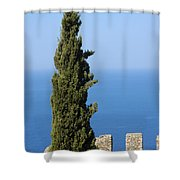 Blue Ocean And Sky Green Tree - Serene And Calming  Shower Curtain