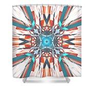 Blue Orange Kaleidoscope Shower Curtain