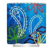 Blue Paisley Garden Shower Curtain
