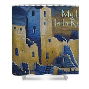 Blue Palace Greeting Card Shower Curtain