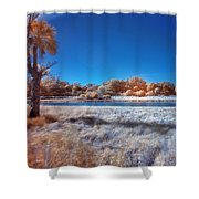 Blue Pond Shower Curtain