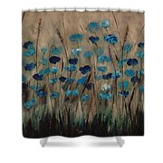 Blue Poppies And Gold Wheat Shower Curtain