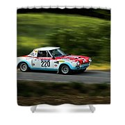 Blue Red And White Fiat Abarth Shower Curtain