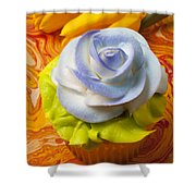 Blue Rose Cup Cake Shower Curtain