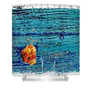 Blue Rusted Steel Painted Background Shower Curtain