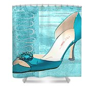 Blue Satin Ball Gown Pump Shower Curtain