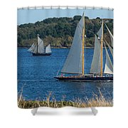 Blue Schooner 03 Shower Curtain