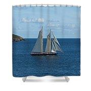 Blue Schooner 04 Shower Curtain