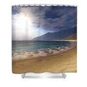 Blue Seas And Radient Sun Shine In This Shower Curtain