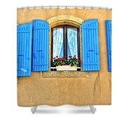 Blue Shutters In Provence Shower Curtain