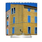 Blue Shutters Martigues France Shower Curtain