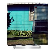 Blue Siding And Camper Shower Curtain