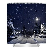Blue Silent Night Shower Curtain