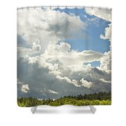 Blue Sky And Building Storm Clouds Fiane Art Print Shower Curtain