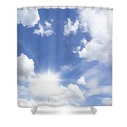 Blue Sky And Sun Ray Shower Curtain
