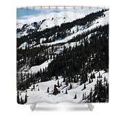 Blue Sky Miners Cabin Shower Curtain