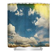 Blue Sky On Old Grunge Paper Shower Curtain