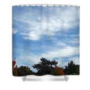 Blue Sky White Clouds Autumn Prints Shower Curtain