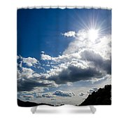 Blue Sky With Clouds Shower Curtain