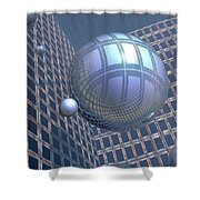 Blue Spheres Framed In Space Shower Curtain