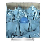 Blue Spikes Alien Terrain Shower Curtain