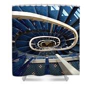 Blue Spiral Stairsway Shower Curtain