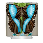 Blue Tiled Butterfly Shower Curtain