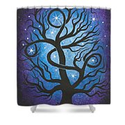 Blue Twisted Tree Shower Curtain