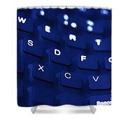 Blue Warped Keyboard Shower Curtain