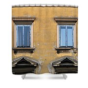 Blue Windows On A Yellow Wall In Milan Shower Curtain
