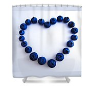 Blueberry Heart Shower Curtain by Julia Wilcox