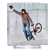 Bmx Flatland In The Snow - Monika Hinz Shower Curtain