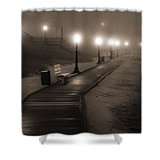 Boardwalk In The Fog Shower Curtain
