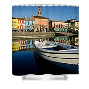 Boat And Village Shower Curtain