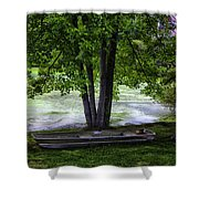 Boat By The Pond 2 Shower Curtain