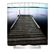 Boat Dock At Smallfish Lake In Scenic Saskatchewan Shower Curtain