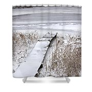 Boat Dock In Winter On A Lake No.0243 Shower Curtain