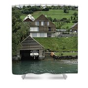 Boat House On A Mountain Slope On The Shore Of Lake Lucerne In Switzerland Shower Curtain