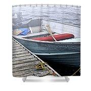Boat In Fog Shower Curtain