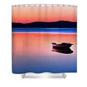 Boat In Sunset II Shower Curtain