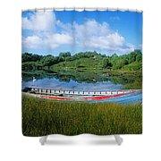 Boat Moored At A Harbor, Ellens Rock Shower Curtain