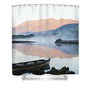 Boat On A Tranquil Lake Killarney Shower Curtain