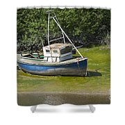 Boat On Banks Of Dee Shower Curtain