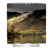 Boat On Lake Derwent, Cumbria, England Shower Curtain by John Short